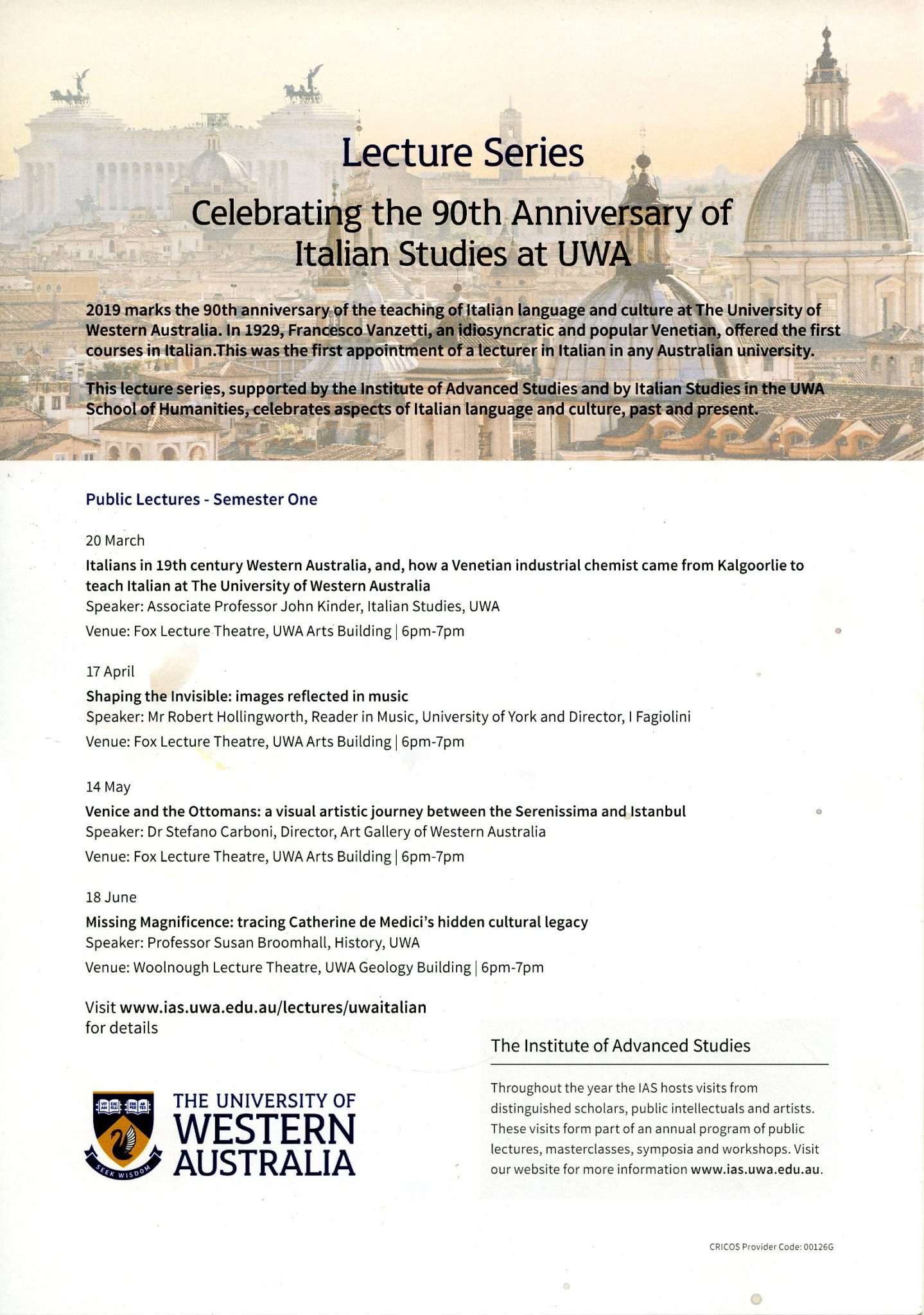 Celebrating the 90th Anniversary of Italian Studies at UWA