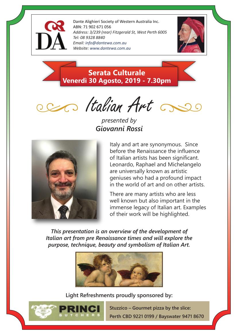"""Serata Culturale"" August 2019: ""Italian Art"""