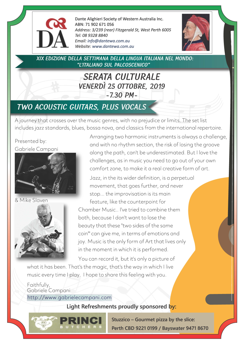 "Serata Culturale October 2019: ""Two Acoustic Guitars plus Vocals"""