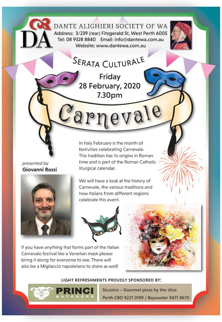 """""""Serata Culturale"""" Feb. 2020: Carnevale"""