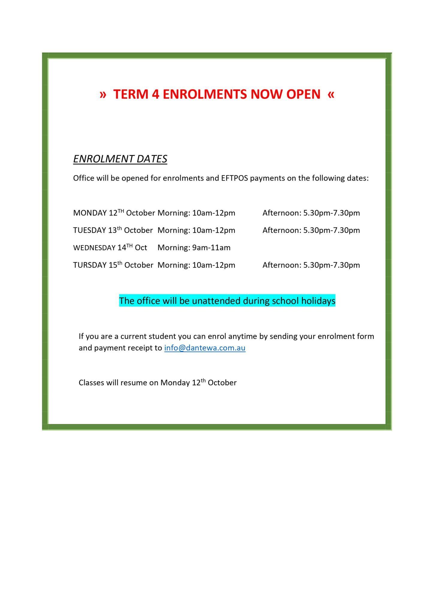 👉  TERM 4 ENROLMENTS ARE NOW OPEN   👈