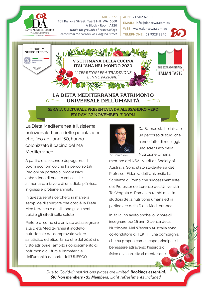 """Serata Culturale: """"La Dieta Mediterranea Patrimonio Universale dell'Umanita' """""""