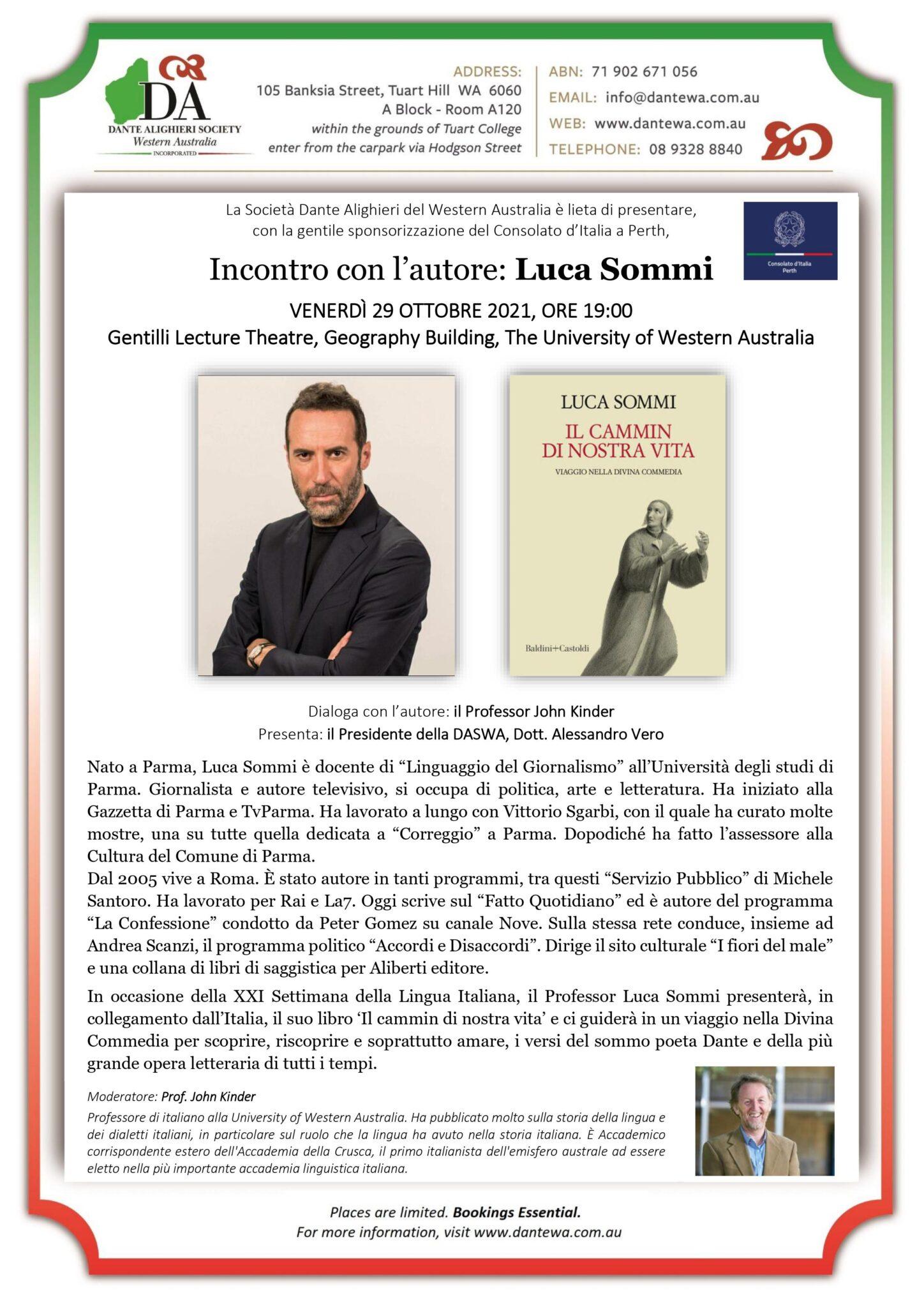 👉📓 Serata Culturale di Ottobre – Incontro con l'autore: Luca Sommi  📚👈